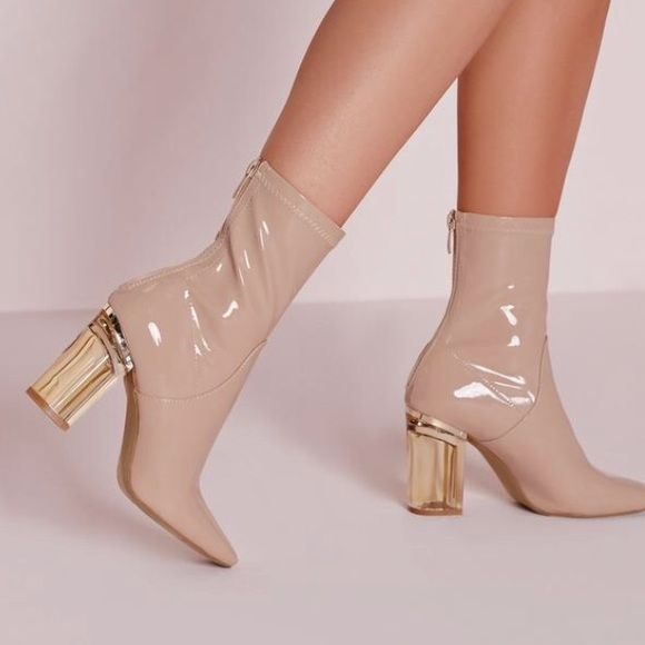 f186413b31a Missguided Nude Patent Ankle Boots Perspex Heel
